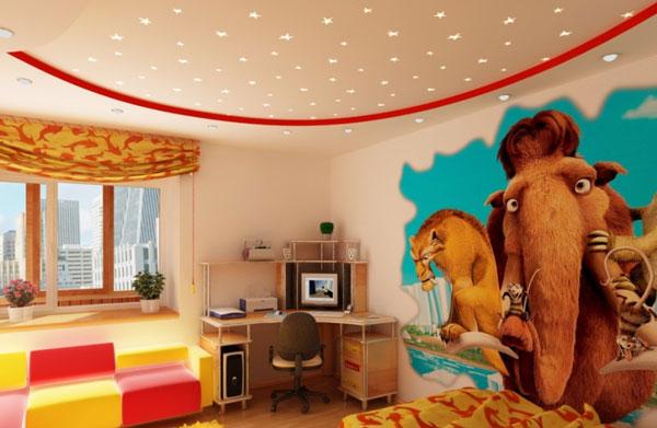Интерьер детской комнаты с гипсокартонным потолком после ремонта