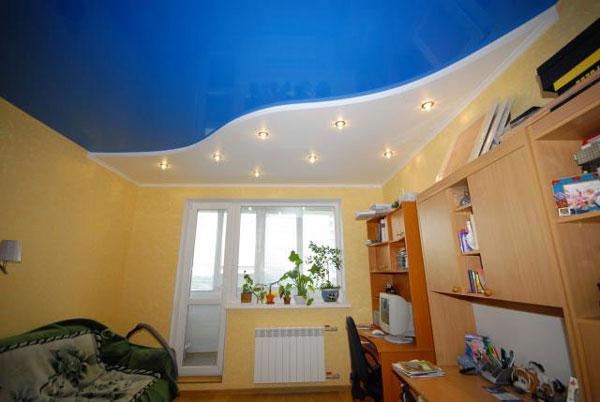 Дизайн комнты для мальчика с потолком из гипсокартона