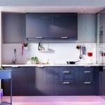 Кухня синего цвета после ремонта