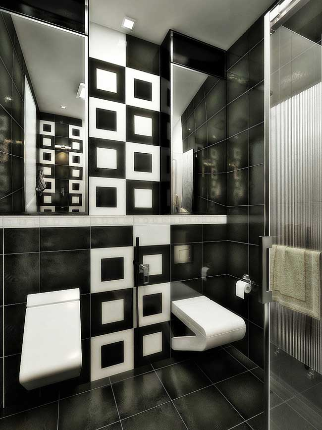 Интерьер ванной с черной и белой плиткой. Фото 5