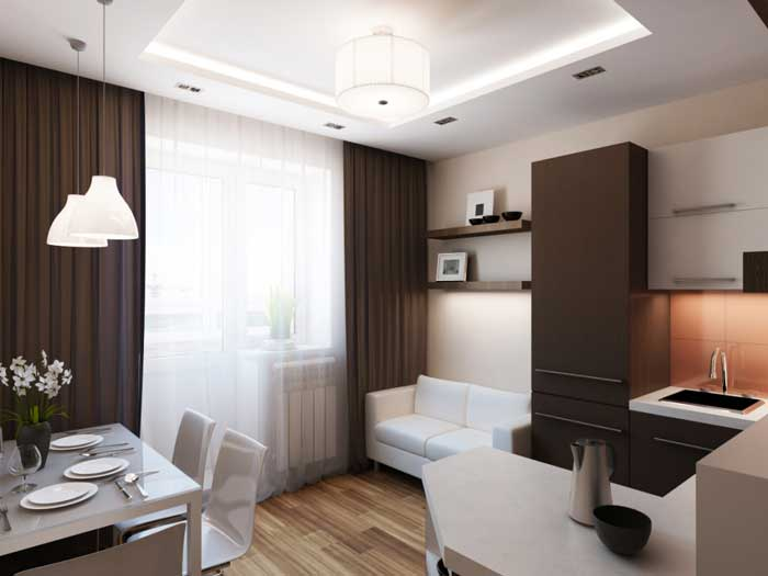 Дизайн однокомнатной квартиры - фото кухни