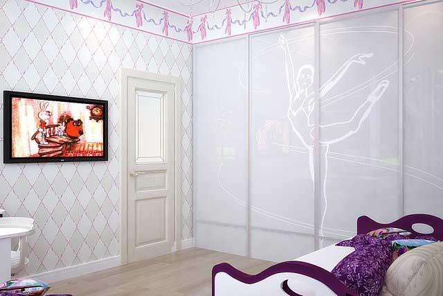 Спальня для девочки 6-8 лет. Шкаф купе