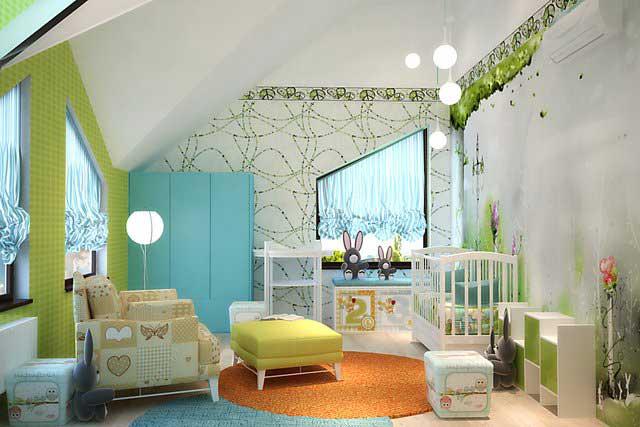 Дизайн детской в мансарде. Голубой шкаф