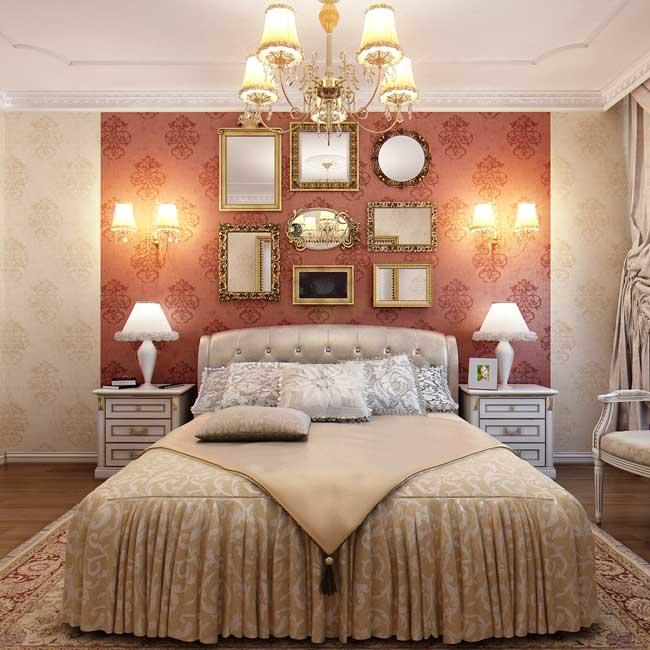 Оформление спальни комбинированными обоями. Фото 5