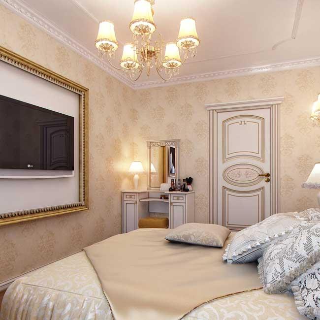 Отделка маленькой спальни светлыми обоями. Фото 6