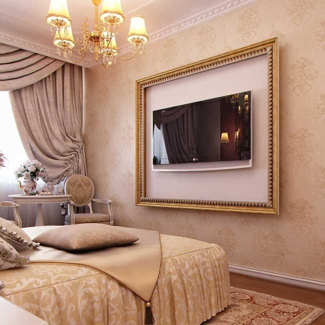 Бежевая классическая спальня 12 кв. м. Фото 7