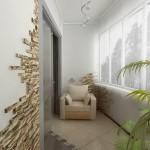 Искусственный камень на стене балкона