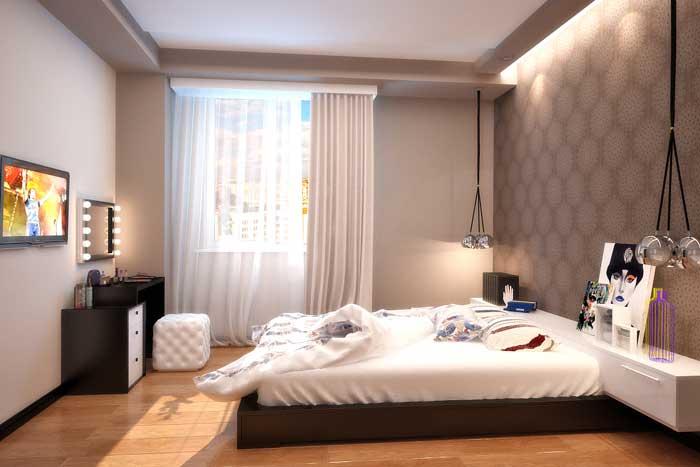 Оформление штор в спальне. Дизайн интерьера с комбинированными обоями