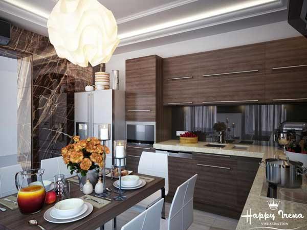 Оформление кухни в двухкомнатной квартире. Фото 4