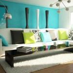 Бирюзовый цвет стен в гостиной
