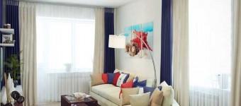 Синий и белый цвет в дизайне гостиной в хрущевке. Фото 9