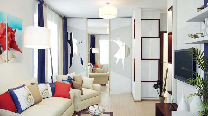 Дизайн однокомнатной хрущевки.  Фото шкафа купе в гостиной