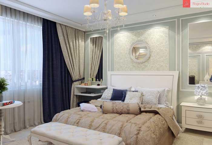 Дизайн небольшой спальни в классическом стиле. Фото 8