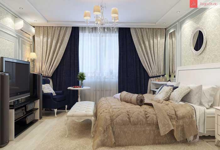Классические шторы в спальне. Фото 6