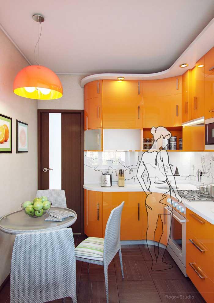 Дизайн оранжевой маленькой кухни в хрущевке. Фото 3
