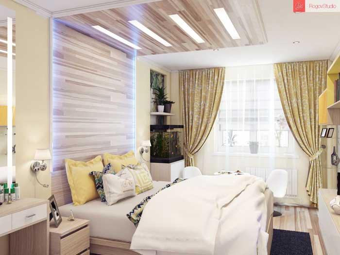 Дизайн желтых штор в спальню. Фото 4