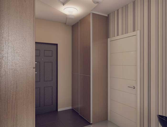Отделка маленького коридора со шкафом