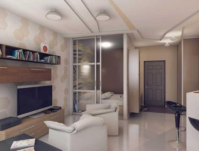 Дизайн квартиры студии 20 м2 с использование зонирования