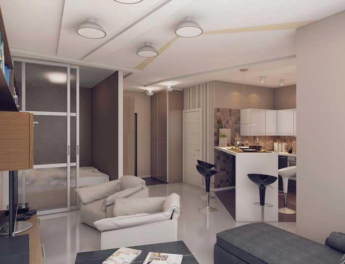 Зонирование комнат перегородками в дизайне квартиры студии