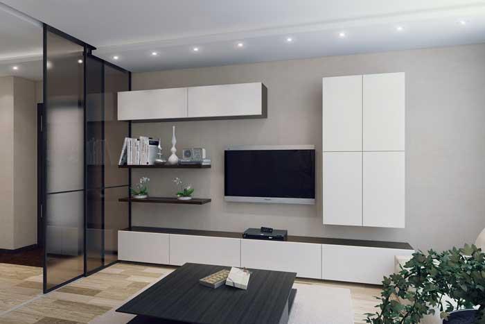 Дизайн стенки для гостиной, объединенной с кухней. Фото 5