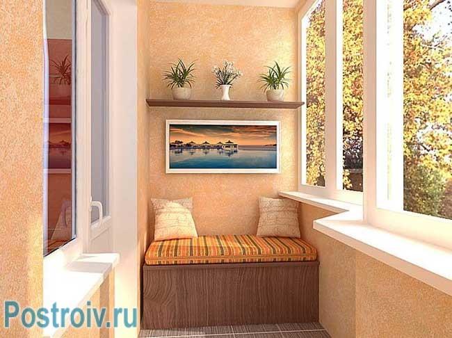 Уютный уголок для ребенка на балконе. фото