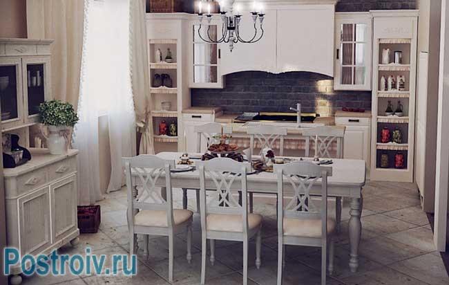 Кухонный фартук из черного декоративного кирпича. Фото