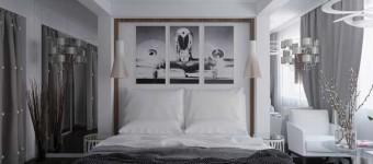 Модульные картины над кроватью в спальне. Фото 6