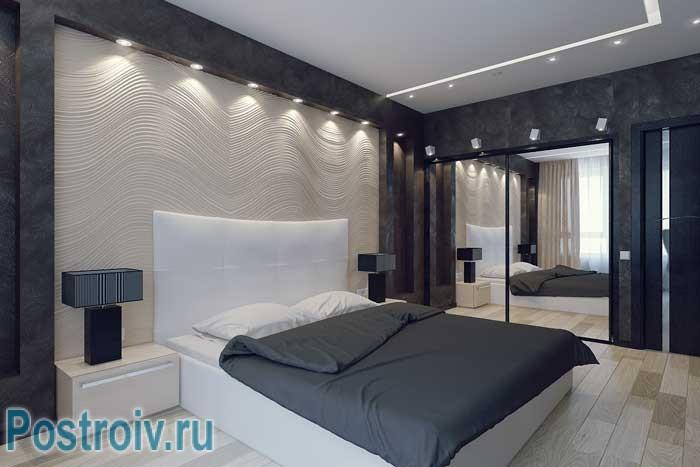 Дизайн спальни. Точечная подсветка в нише. Фото 12