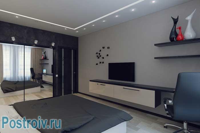 Телевизор в спальне 18 кв. м. Спальня-гостиная. Фото 11