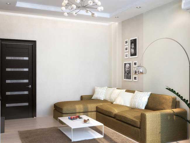 Угловой диван песочного цвета в зале. Фото 3