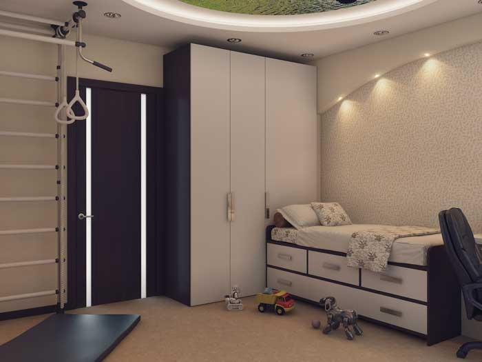 Белый шкаф до потолка в детской комнате. Фото 3