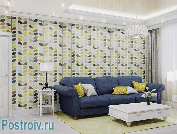 Акцентирование обоями стены в гостиной 17-18 кв. м. Современная классика