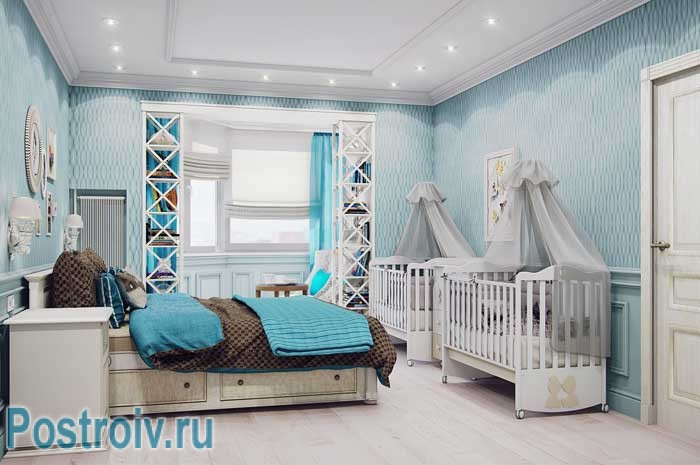 Детские кроватки в родительской спальне. Скандинавский стиль интерьера
