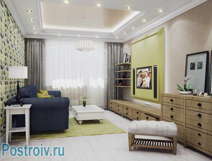 Дизайн гостиной 18 кв. м. в современном стиле. Комбинирование обоев на стенах