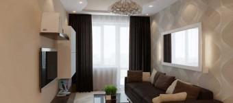В гостиной светлые стены и темно-коричневые шторы. Хорошее сочетание цветов. Фото 3