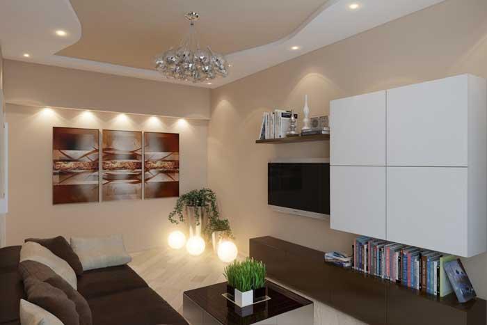 модульная картина с дополнительной подсветкой в гостиной. Фото 2