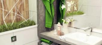 Дизайнерский интерьер ванной комнаты серого цвета. Фото