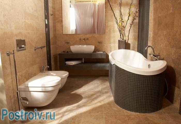 Бежевая ванная комната. Фото