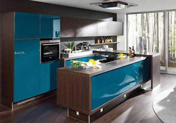 Дизайн кухни цвета венге и голубого. Фото 23
