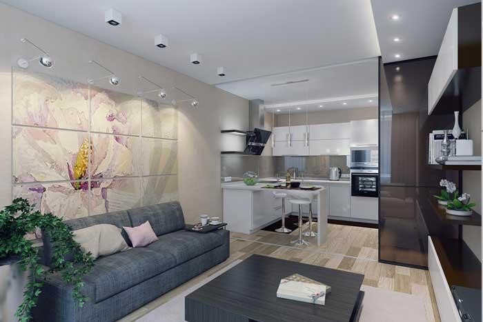 Интерьер кухни, совмещенной с гостиной. фото