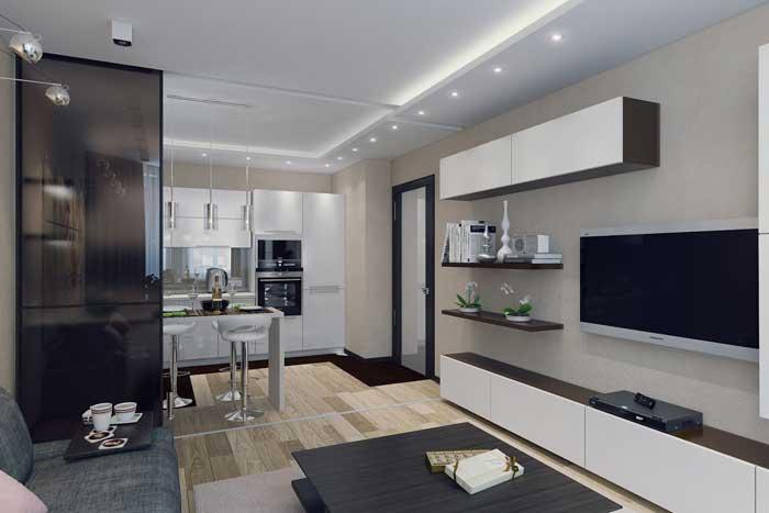 Дизайн гостиной, совмещенной с кухней. Фото 2