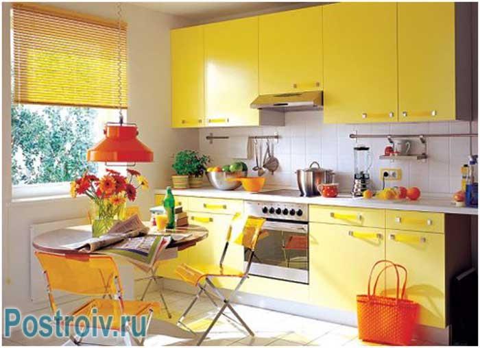 Дизайн кухни в желтом цвете. Фото 2