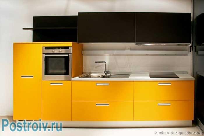 Современная кухня желтого и черного цветов. Фото 12