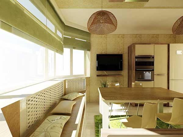В эркере кухни устроили зону отдыха с диванами