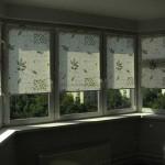 Дизайн рулонных штор для эркера на кухне светлые