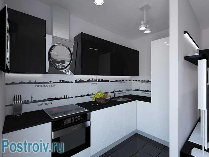 Черно белая кухня в современном стиле