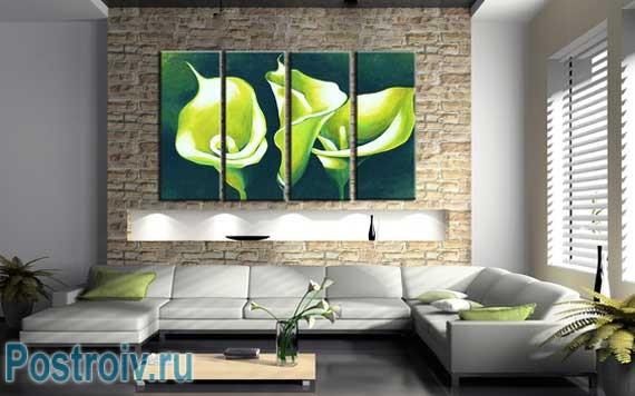 Модульная картина в интерьере гостиной. Фото