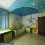 Трехцветный глянцевый потолок в комнате ребенка дизайн