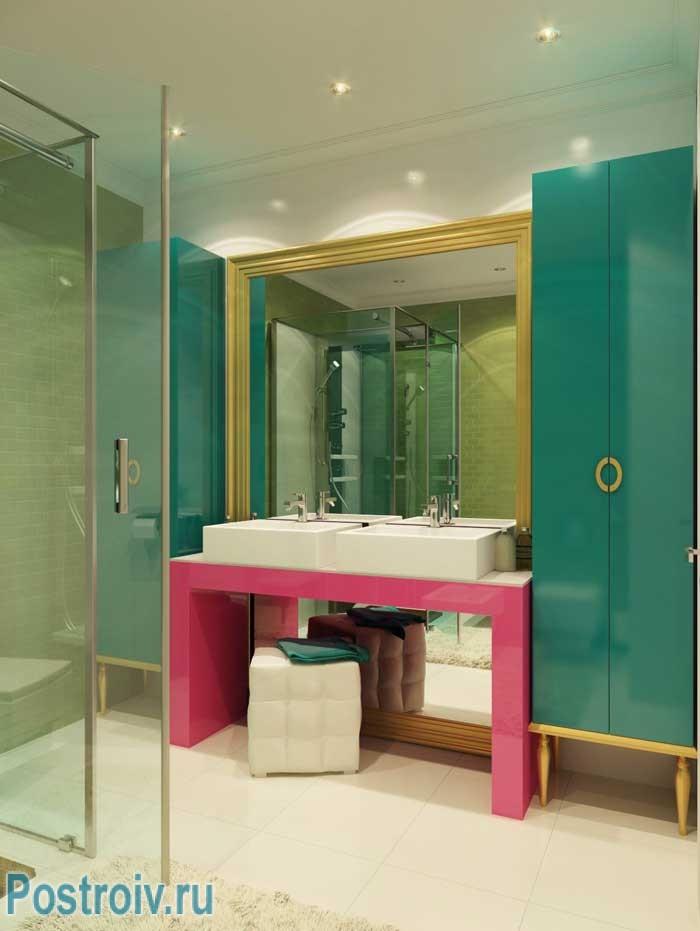 Поп-арт в интерьере ванной комнаты. Фото