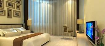 Дизайн штор в спальне нитяные
